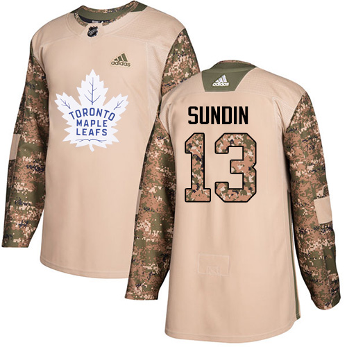 Men's Adidas Toronto Maple Leafs #13 Mats Sundin Authentic Camo Veterans Day Practice NHL Jersey