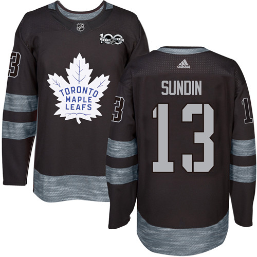 Men's Adidas Toronto Maple Leafs #13 Mats Sundin Premier Black 1917-2017 100th Anniversary NHL Jersey