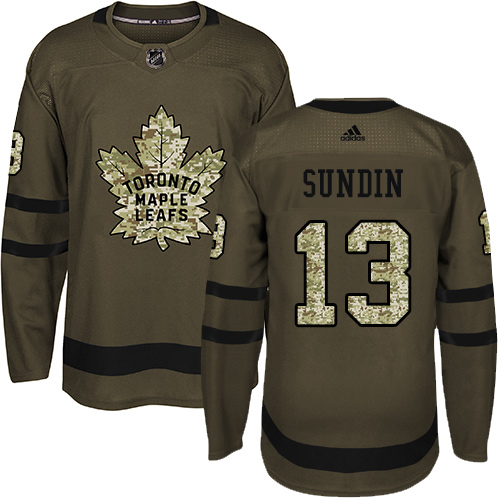 Men's Adidas Toronto Maple Leafs #13 Mats Sundin Authentic Green Salute to Service NHL Jersey