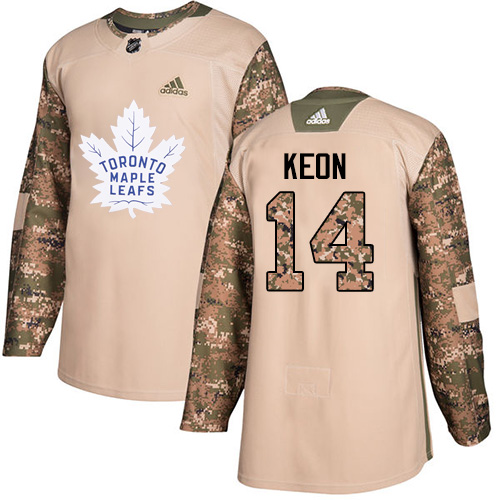 Men's Adidas Toronto Maple Leafs #14 Dave Keon Authentic Camo Veterans Day Practice NHL Jersey