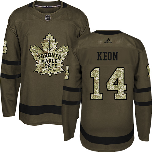 Men's Adidas Toronto Maple Leafs #14 Dave Keon Authentic Green Salute to Service NHL Jersey