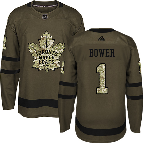 Men's Adidas Toronto Maple Leafs #1 Johnny Bower Authentic Green Salute to Service NHL Jersey