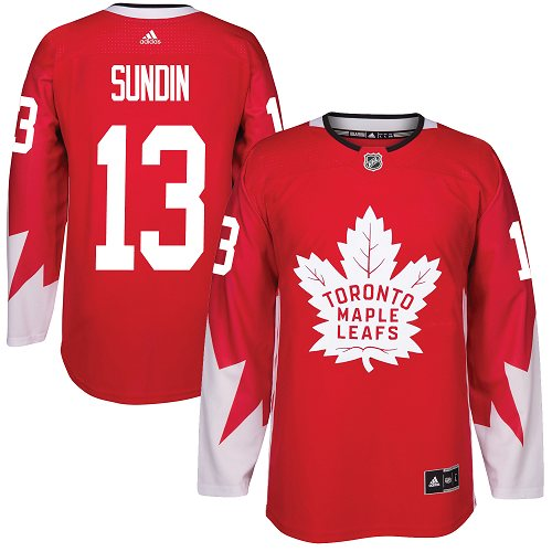 Men's Adidas Toronto Maple Leafs #13 Mats Sundin Authentic Red Alternate NHL Jersey