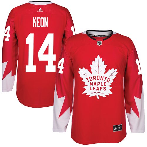 Men's Adidas Toronto Maple Leafs #14 Dave Keon Authentic Red Alternate NHL Jersey