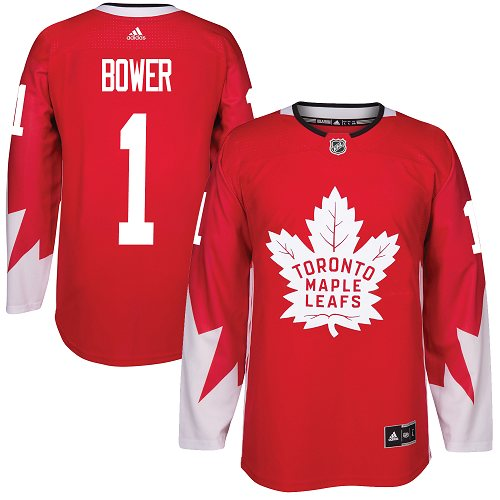 Men's Adidas Toronto Maple Leafs #1 Johnny Bower Premier Red Alternate NHL Jersey