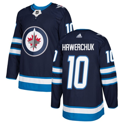 Men's Adidas Winnipeg Jets #10 Dale Hawerchuk Authentic Navy Blue Home NHL Jersey