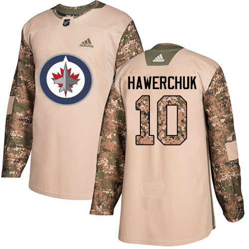 Men's Adidas Winnipeg Jets #10 Dale Hawerchuk Authentic Camo Veterans Day Practice NHL Jersey