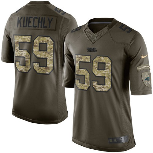 Men's Nike Carolina Panthers #59 Luke Kuechly Elite Green Salute to Service NFL Jersey