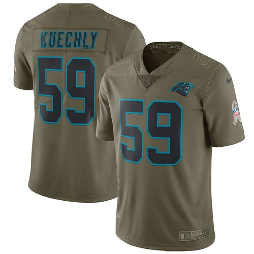Men's Nike Carolina Panthers #59 Luke Kuechly Limited Olive 2017 Salute to Service NFL Jersey