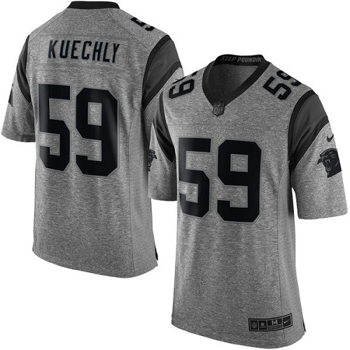 Men's Nike Carolina Panthers #59 Luke Kuechly Limited Gray Gridiron NFL Jersey