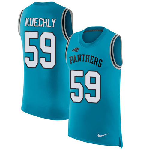 Men's Nike Carolina Panthers #59 Luke Kuechly Blue Rush Player Name & Number Tank Top NFL Jersey