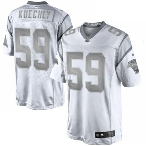 Men's Nike Carolina Panthers #59 Luke Kuechly Limited White Platinum NFL Jersey