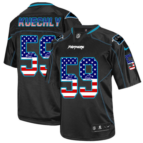 Men's Nike Carolina Panthers #59 Luke Kuechly Elite Black USA Flag Fashion NFL Jersey