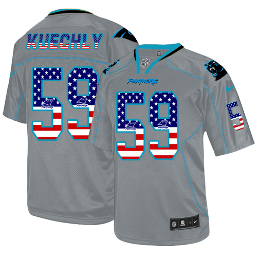 Men's Nike Carolina Panthers #59 Luke Kuechly Elite Grey USA Flag Fashion NFL Jersey
