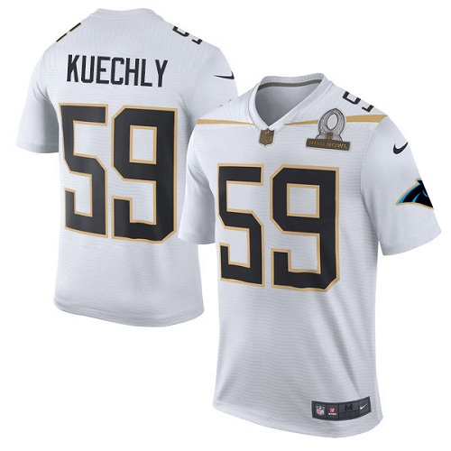 Men's Nike Carolina Panthers #59 Luke Kuechly Elite White Team Rice 2016 Pro Bowl NFL Jersey