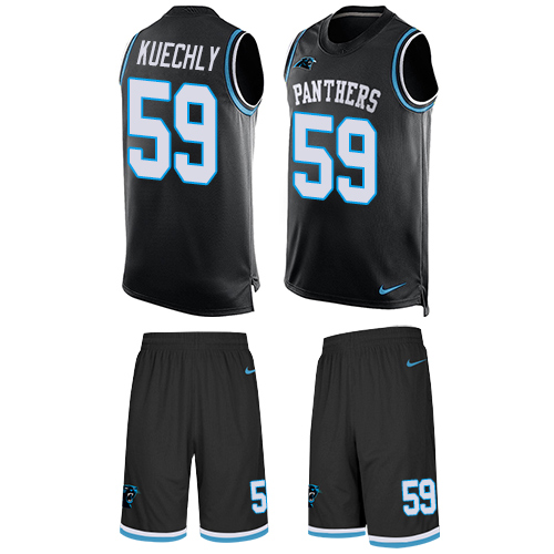 Men's Nike Carolina Panthers #59 Luke Kuechly Limited Black Tank Top Suit NFL Jersey