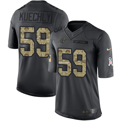 Men's Nike Carolina Panthers #59 Luke Kuechly Limited Black 2016 Salute to Service NFL Jersey