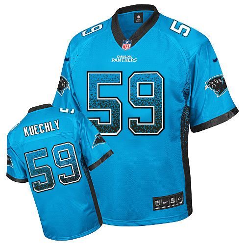 Men's Nike Carolina Panthers #59 Luke Kuechly Elite Blue Drift Fashion NFL Jersey