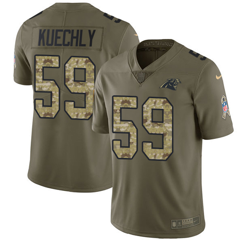 Men's Nike Carolina Panthers #59 Luke Kuechly Limited Olive/Camo 2017 Salute to Service NFL Jersey