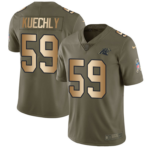 Men's Nike Carolina Panthers #59 Luke Kuechly Limited Olive/Gold 2017 Salute to Service NFL Jersey