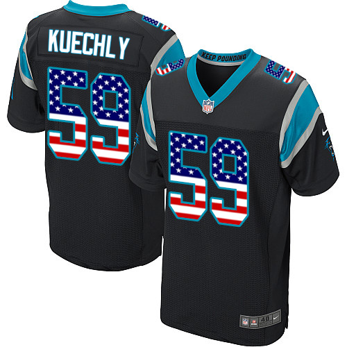 Men's Nike Carolina Panthers #59 Luke Kuechly Elite Black Home USA Flag Fashion NFL Jersey
