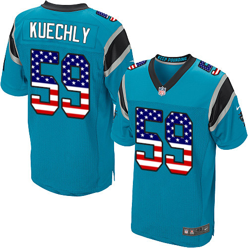Men's Nike Carolina Panthers #59 Luke Kuechly Elite Blue Alternate USA Flag Fashion NFL Jersey