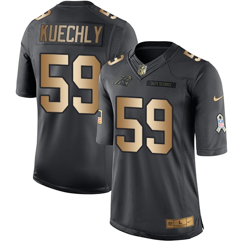Men's Nike Carolina Panthers #59 Luke Kuechly Limited Black/Gold Salute to Service NFL Jersey