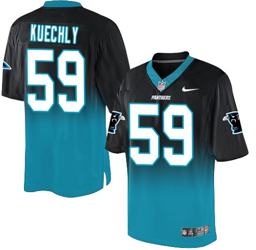 Men's Nike Carolina Panthers #59 Luke Kuechly Elite Black/Blue Fadeaway NFL Jersey