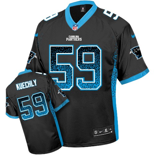 Men's Nike Carolina Panthers #59 Luke Kuechly Elite Black Drift Fashion NFL Jersey