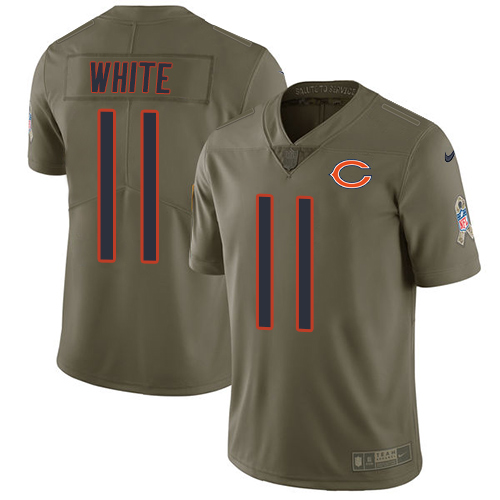 Men's Nike Chicago Bears #11 Kevin White Limited Olive 2017 Salute to Service NFL Jersey