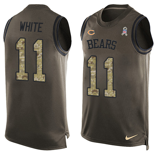 Men's Nike Chicago Bears #11 Kevin White Limited Green Salute to Service Tank Top NFL Jersey