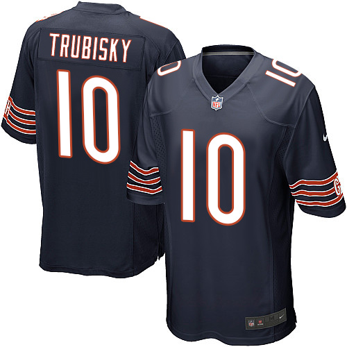 Men's Nike Chicago Bears #10 Mitchell Trubisky Game Navy Blue Team Color NFL Jersey