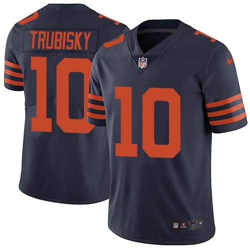Men's Nike Chicago Bears #10 Mitchell Trubisky Navy Blue Alternate Vapor Untouchable Limited Player NFL Jersey