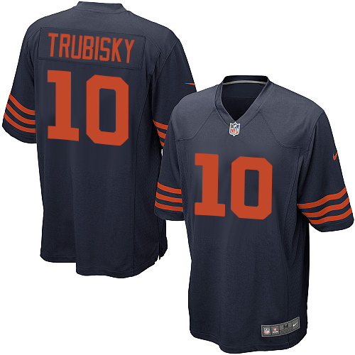 Men's Nike Chicago Bears #10 Mitchell Trubisky Game Navy Blue Alternate NFL Jersey