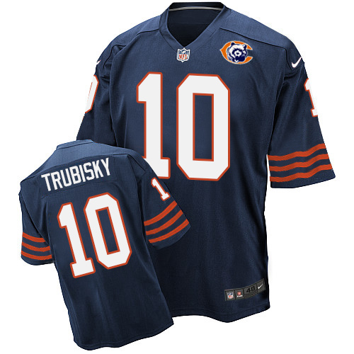 Men's Nike Chicago Bears #10 Mitchell Trubisky Elite Navy Blue Throwback NFL Jersey
