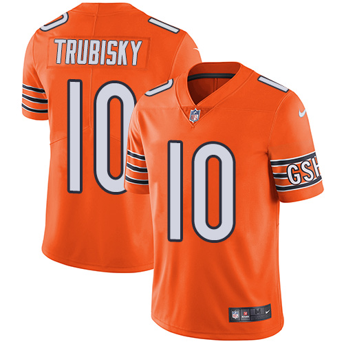 Men's Nike Chicago Bears #10 Mitchell Trubisky Limited Orange Rush Vapor Untouchable NFL Jersey