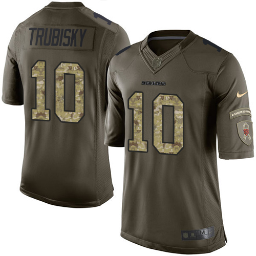 Men's Nike Chicago Bears #10 Mitchell Trubisky Elite Green Salute to Service NFL Jersey