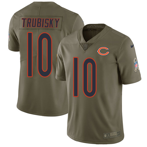 Men's Nike Chicago Bears #10 Mitchell Trubisky Limited Olive 2017 Salute to Service NFL Jersey