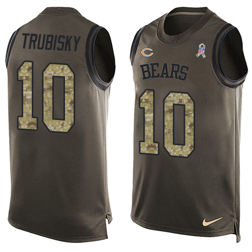 Men's Nike Chicago Bears #10 Mitchell Trubisky Limited Green Salute to Service Tank Top NFL Jersey