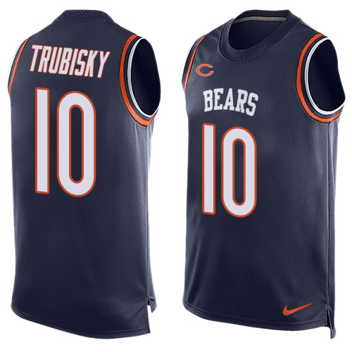 Men's Nike Chicago Bears #10 Mitchell Trubisky Limited Navy Blue Player Name & Number Tank Top NFL Jersey