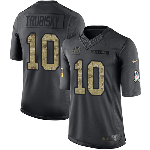 Men's Nike Chicago Bears #10 Mitchell Trubisky Limited Black 2016 Salute to Service NFL Jersey