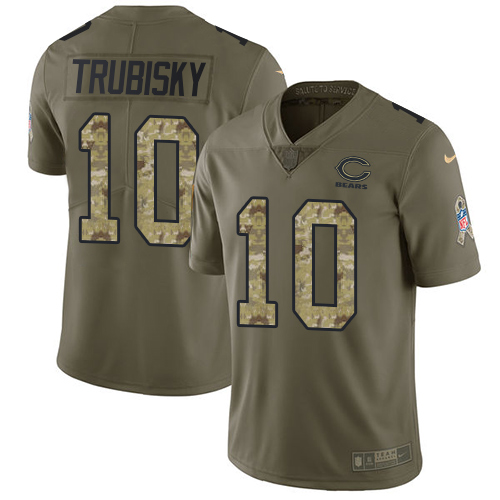 Men's Nike Chicago Bears #10 Mitchell Trubisky Limited Olive/Camo Salute to Service NFL Jersey