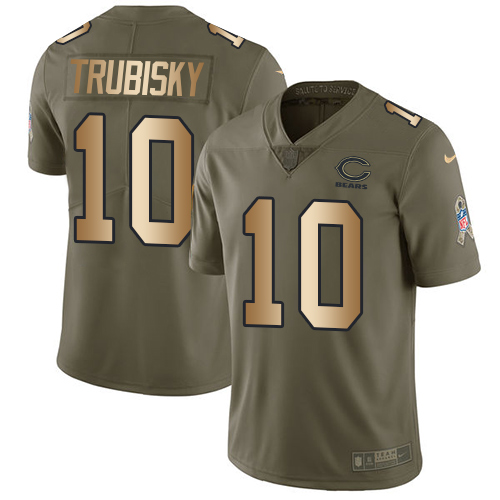 Men's Nike Chicago Bears #10 Mitchell Trubisky Limited Olive/Gold Salute to Service NFL Jersey