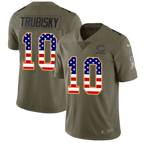 Men's Nike Chicago Bears #10 Mitchell Trubisky Limited Olive/USA Flag Salute to Service NFL Jersey