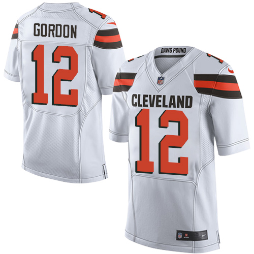 Men's Nike Cleveland Browns #12 Josh Gordon Elite White NFL Jersey