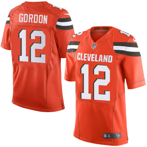 Men's Nike Cleveland Browns #12 Josh Gordon Elite Orange Alternate NFL Jersey