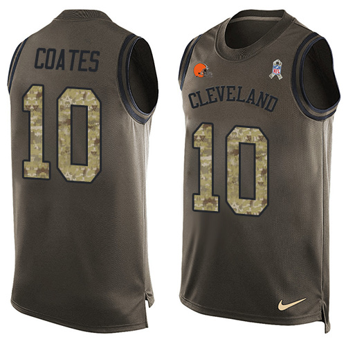 Men's Nike Cleveland Browns #10 Sammie Coates Limited Green Salute to Service Tank Top NFL Jersey