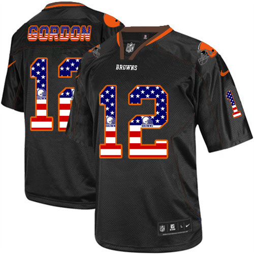 Men's Nike Cleveland Browns #12 Josh Gordon Elite Black USA Flag Fashion NFL Jersey