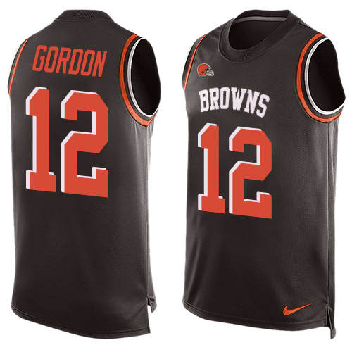 Men's Nike Cleveland Browns #12 Josh Gordon Limited Brown Player Name & Number Tank Top NFL Jersey