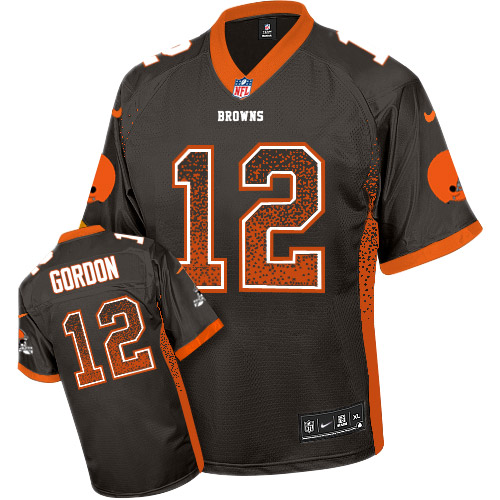 Men's Nike Cleveland Browns #12 Josh Gordon Elite Brown Drift Fashion NFL Jersey